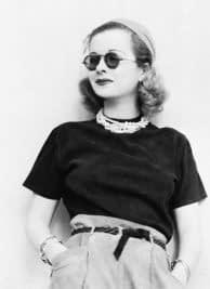 Joan Bennett con gafas de sol redondas